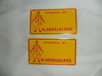 2 Mcdonalds  Metal  Toy License Plate   [ Old Stock]