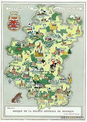 LUXEMBOURG - BELGIUM - WALLONIA - Original Vintage Pictorial illustrated Map