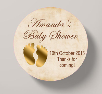 Baby Shower Stickers Thank you Vintage Footprints Favour  Sweet Cone Stickers