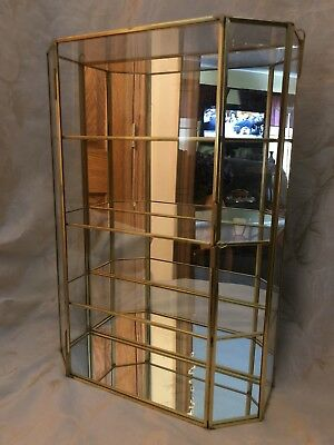 Large Glass Brass Metal Curio Cabinet Wall Display Case Mirror Shelves Jewelry