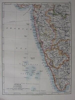 1904 Map ~ India South West Mysore Bombay Laccadive Islands