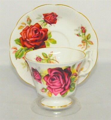 Royal Albert English large red rose teacup & saucer set - teacup