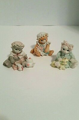 Enesco Calico Kittens Baby Knitted Tea Friendship Collectible Figurine Lot Of 3