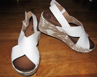 e298fdded7ae CLARKS STASHA HALE White Leather Wedge Sandal Size 8 New In Box ...