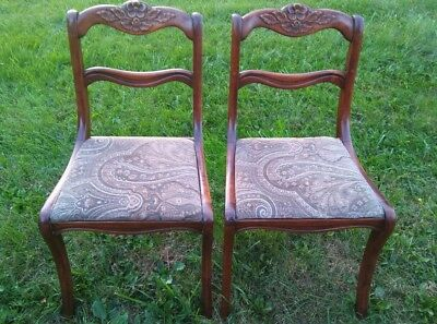 PAIR VINTAGE Mahogany carved Rose Back Duncan Phyfe Chairs Beautiful set