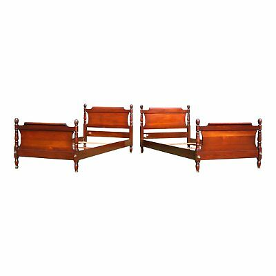 Antique Pair Federal Style Solid Mahogany Pineapple Single Twin Sleigh Beds