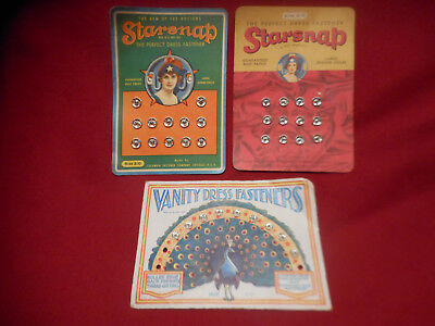 Lot of 3 Antique Vintage SNAP DRESS FASTENERS on CARDS~ Starsnap Vanity Peacock