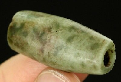 Big Ancient Pre Columbian Olmec or Mezcala Spotted Jaguar Green Stone Jade 33mm