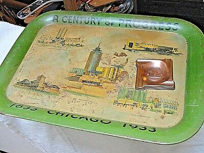 1933 Chicago A Century Of Progress Metal Serving Tray & Ash Tray Lot Of 2