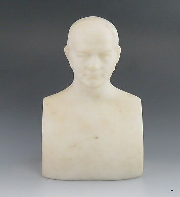 Mid 1800's Antique Carrera White Marble John Quincy Adams Bust Paperweight 6 in