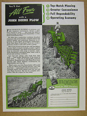 1953 John Deere Tractor-drawn Truss-Frame Plows vintage print Ad