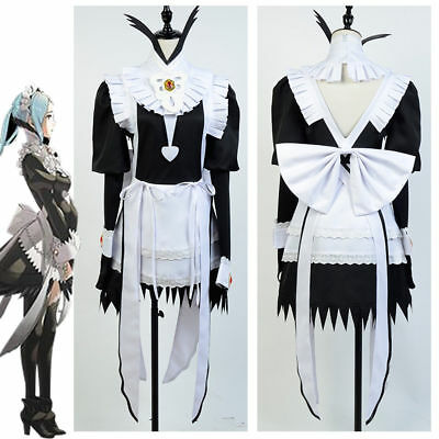 Fire Emblem Awakening/Fates Flora Cosplay Costume Gown Maid Suit Outfit Dress