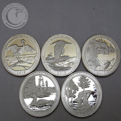 2018-S Bu National Parks Quarter Proofs Set Of 5 America The Beautiful