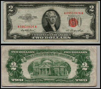1953 $2 Dollar Bill Old Us Note Legal Tender Paper Money  Red Seal  Lot E465