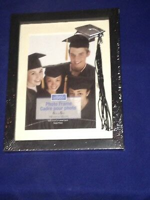 """Special Moments 4""""x 6""""picture Frame  Black Graduation With Silver Cap/tassel H3"""
