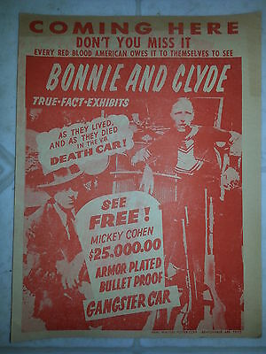 Bonnie and Clyde Death Car Handbill Poster. Newspaper Print.