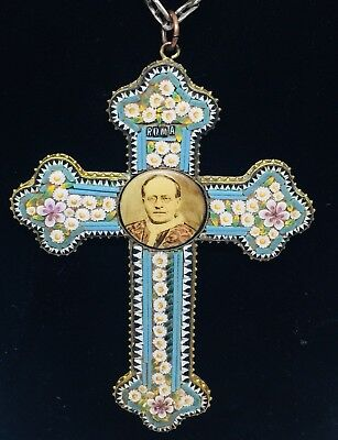 Antique Victorian Brass Floral Micro Mosaic Large Cross Pendant Sterling Chain