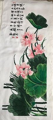 Finished Completed Cross Stitch Lotus Flowers