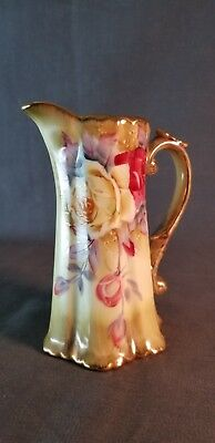 Hand Painted Pitcher w/Roses Gold Trim Maple Leaf Mark Nippon Japan Mid Century