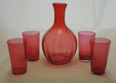 Antique Ruby Cranberry Glass Bulbous Carafe 4 Small Glasses #5