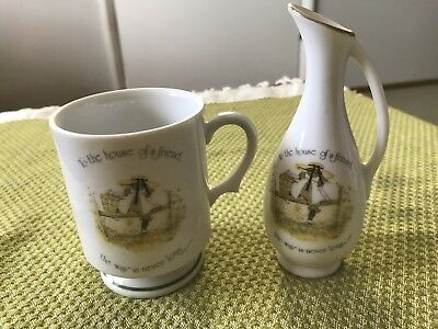 Holly Hobbie Vintage Collectable Porcelain Vase And Cup in Friend Theme
