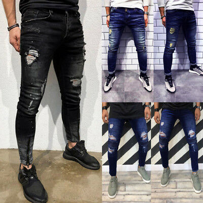 Mens Skinny Stretch Denim Pants Distressed Ripped Freyed Hole Fit Jeans Trousers