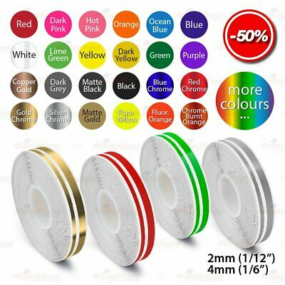 "12mm 1/2"" Roll PinStripe PinStriping Double Lines Trim Tape Vinyl Car STICKERS"