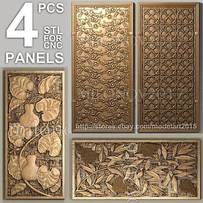3d stl Model relief for CNC Router Artcam 4 pcs Pack panel
