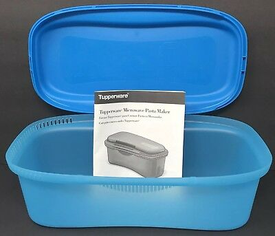 Tupperware Microwave Pasta Maker Spaghetti Cooker 8 Cup Container Blue New