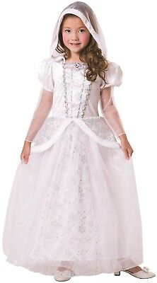 Girls White Winter Queen Christmas Xmas Noel Festive Fancy Dress Costume Outfit