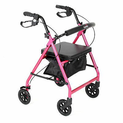 Endeavour Breast Cancer Awareness 4 Wheeled Rollator w/ Seat and Bag