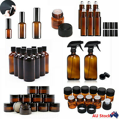 1ML-500ML Multi Amber Glass Essential Oil Bottle Spray Roller Dropper Bottles AU