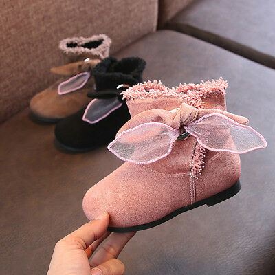 Kids Toddler Baby Girls Bow Snow Ankle Boots Shoes Fluffy Sneaker Flock Soft