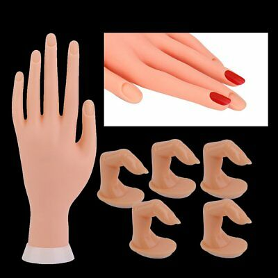 Practice Nail Art Trainer Training Hand Acrylic Gel False Tool + 5 Finger Model