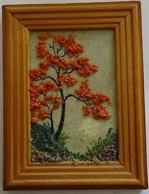 Handmade painting with natural stones (coral). 2000s Free shipping.