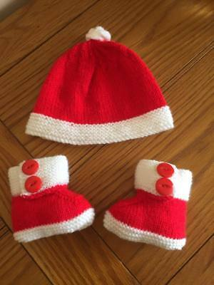 Knitting Pattern For Christmas Pudding Hat Booties To Fit Newborn