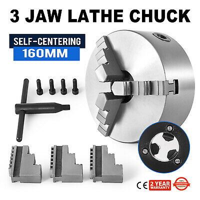 Lathe Chuck 3 Jaw x 6'' 6 inch Scroll Metal Self-Centering Plain Back K11-160A
