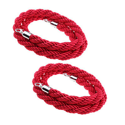 2m 3meters Twisted Queue Barrier Rope Red for Posts Stands Exhibition
