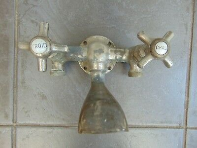 Antique Vintage French Reclaimed Wall Mounted Bath Mixer Tap Ceramic Inserts
