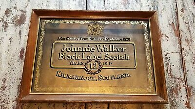 Johnnie Walker Black Label Scotch mirror 1970's Vintage Wood Frame Bar Sign