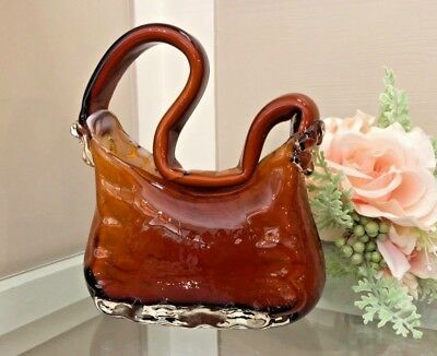 Vintage Large Murano Italian Marbleized Glass Purse Vase Hand Blown