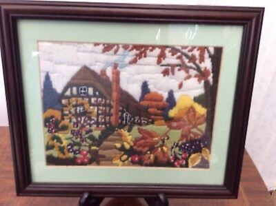 Framed Wool Embroidery Picture Of Countrycottage In Autumn