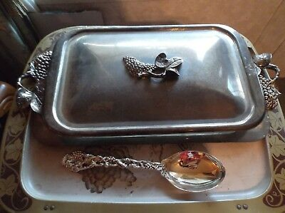 4 piece  Silver Plated Godinger 3 QT casserole serving tray with lid and spoon