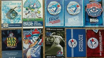 12 Different Toronto Blue Jays Pocket Schedules - 1984 to 2017