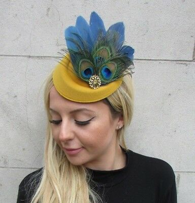 Navy Blue Green Mustard Gold Yellow Feather Hat Hair Clip Fascinator Races 6304