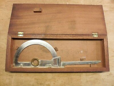 19th century Swing Arm Protractor - signed F. Kroedel NY, w/ fitted Mahogany box