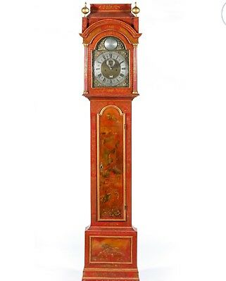 Antique English red chinoiserie early Georgian longcase or grandfather clock