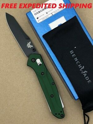 New Benchmade Osborne 940Bk Green Aluminum Handle Plain Edge Black Blade Knife