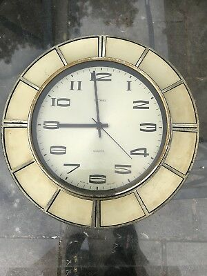 Retro Vintage Starburst 60s/70s Metamec Wall QUARTZ Clock Gold Coloured