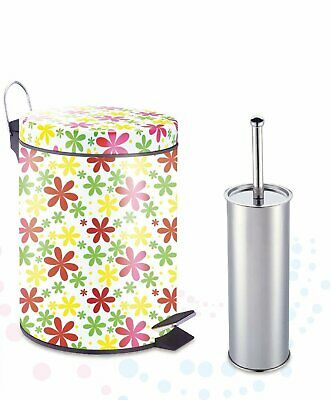 W Home Designer Pattern Printed Stainless Steel 1.32 Gallon Step On Trash Can